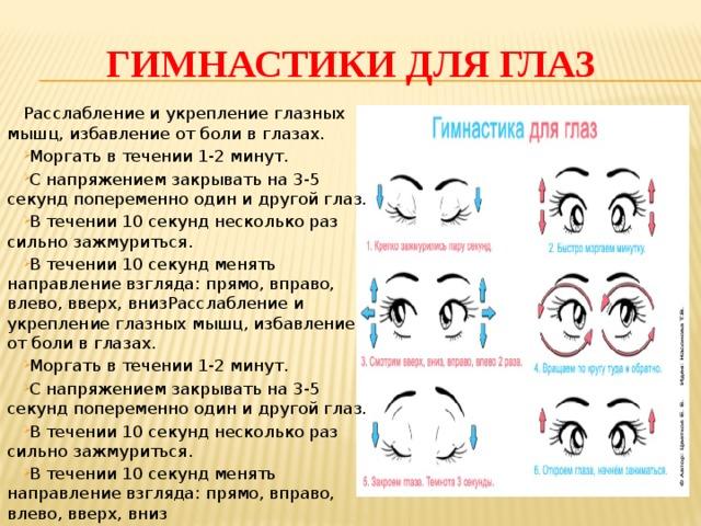 Упражнения гимнастики для глаз в картинках