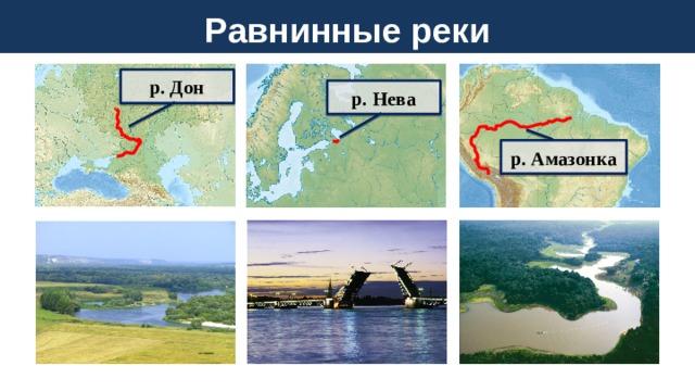 Равнинные реки р. Дон р. Нева р. Амазонка